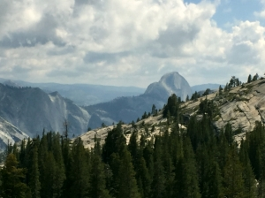 The view of Yosemite Valley and Half Dome from Olmsted Point
