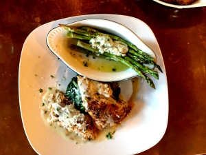 Herb & Parmesan Encrusted Grouper w/Sauteed Spinach and Asparagus