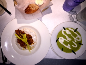 Buffalo-style Alligator Tail with Cool Asparagus Soup
