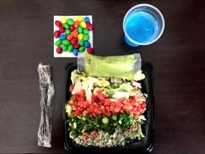 Prepared Cobb Salad al la Publix Supermarket, Gatorade, M&Ms.