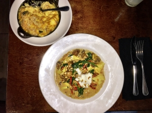 Award Winning Pulled Pork and Collard Greens Mac 'N Cheese and Wild Mushroom Pappardelle