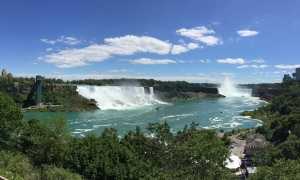 Looking to the southeast: American Falls on the left, Horseshoe Falls on the right