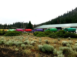 Brightly painted water trucks at Truck Village, Weed